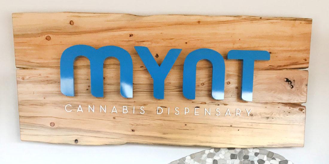 Mynt Cannabis Dispensary Wood Sign